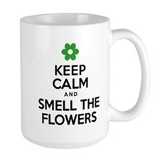 Keep Calm Smell Flowers Drinkware Mugs