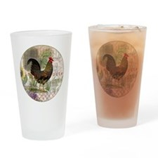 Vintage Rooster French Collage Drinking Glass