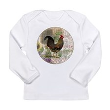 Vintage Rooster French Collage Long Sleeve T-Shirt