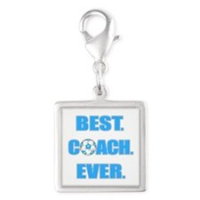 Best. Coach. Ever. Blue Silver Square Charm