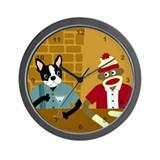 Boston Terrier &amp; Sock Monkey Wall Clock