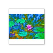 "Cute Waterlily Square Sticker 3"" x 3"""