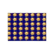 I Love God (suns) Blue Rug 5'x7'Area Rug