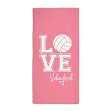 Love Volleyball, Salmon Pink3 Beach Towel