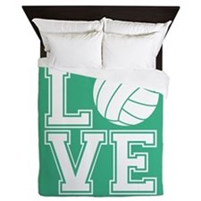 Love Volleyball, Mint Green1 Queen Duvet