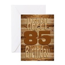 85th Birthday A carved wooden card. Greeting Cards