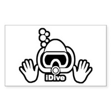 iDive Original Scuba B&W Rectangle Decal