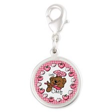 Bear Little Chef Silver Round Charm