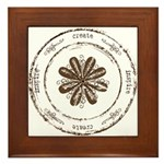 create, inspire (brown) Framed Tile