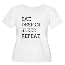 EAT, DESIGN, SLEEP, REPEAT -- Plus Size T-Shirt