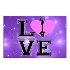 Love Cheerleading purple Postcards (Package of 8)