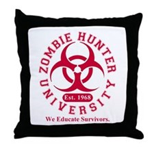 A Zombie Hunter University Throw Pillow