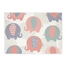 Cute Elephants 5'x7'area Rug