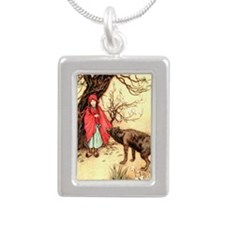 Little Red Riding Hood a Silver Portrait Necklace