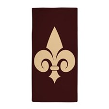 Chocolate Fleur de Lys Beach Towel