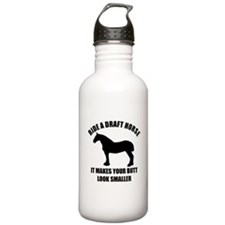 Ride a draft horse (on white) Water Bottle