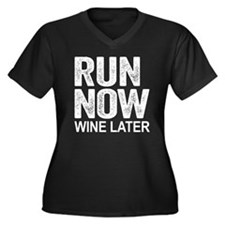 Run Now Wine Women's Plus Size V-Neck Dark T-Shirt
