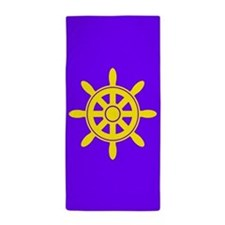 Purple Boat Wheel Beach Towel