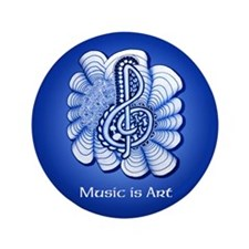 "Customize this Blue Music Treble Clef 3.5"" Button"