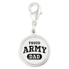 Proud Army Dad Silver Round Charm