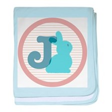 Letter J with cute bunny baby blanket