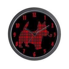 Scottish Terrier Tartan Wall Clock