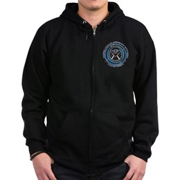 Distressed Shield Zip Hoodie
