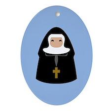 Cute Nun CUSTOM TEXT Ornament (Oval)