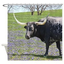 Bluebonnet Longhorn Shower Curtain