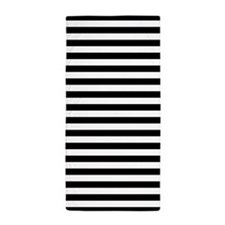 Black and White Striped Beach Towel