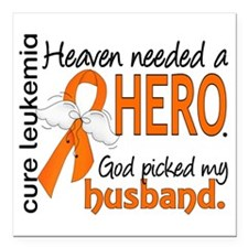 "Leukemia Heaven Needed H Square Car Magnet 3"" x 3"""
