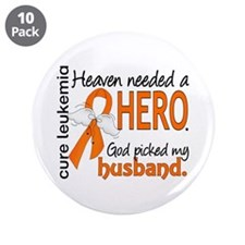 "Leukemia Heaven Needed Hero 3.5"" Button (10 pack)"