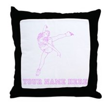 Custom Pink Figure Skater Throw Pillow