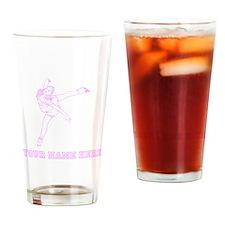 Custom Pink Figure Skater Drinking Glass
