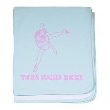 Custom Pink Figure Skater baby blanket