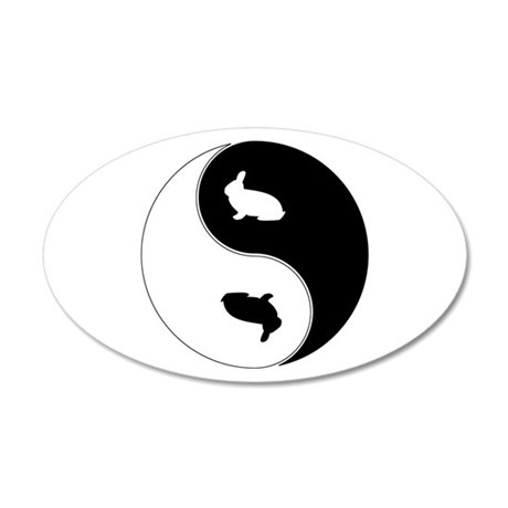 Yin Yang Rabbit Symbol 20x12 Oval Wall Decal