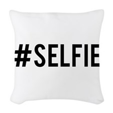 Hash tag selfie Woven Throw Pillow