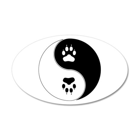 Yin Yang Paw Print Symbol 20x12 Oval Wall Decal