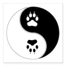 "Yin Yang Paw Print Symbo Square Car Magnet 3"" x 3"""