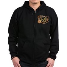 Azizah Tribal Tattoo Zodiac Leo Brown Yellow Zip Hoodie