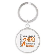 Leukemia Heaven Needed Hero Round Keychain