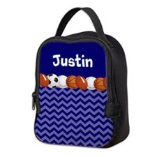 Sports Blue Personalized Neoprene Lunch Bag