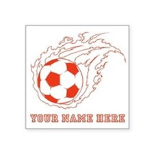 Custom Red Flaming Soccer Ball Sticker