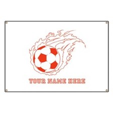 Custom Red Flaming Soccer Ball Banner