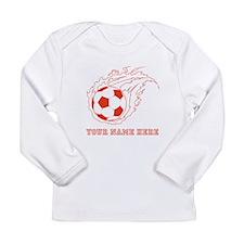 Custom Red Flaming Soccer Ball Long Sleeve T-Shirt