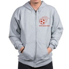 Custom Red Flaming Soccer Ball Zip Hoodie