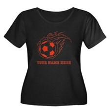 Custom Red Flaming Soccer Ball Plus Size T-Shirt