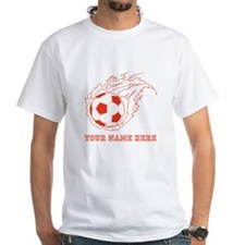 Custom Red Flaming Soccer Ball T-Shirt