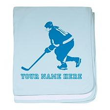 Custom Blue Hockey Player baby blanket
