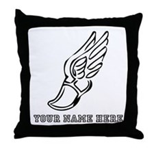 Custom Black Running Shoe With Wings Throw Pillow